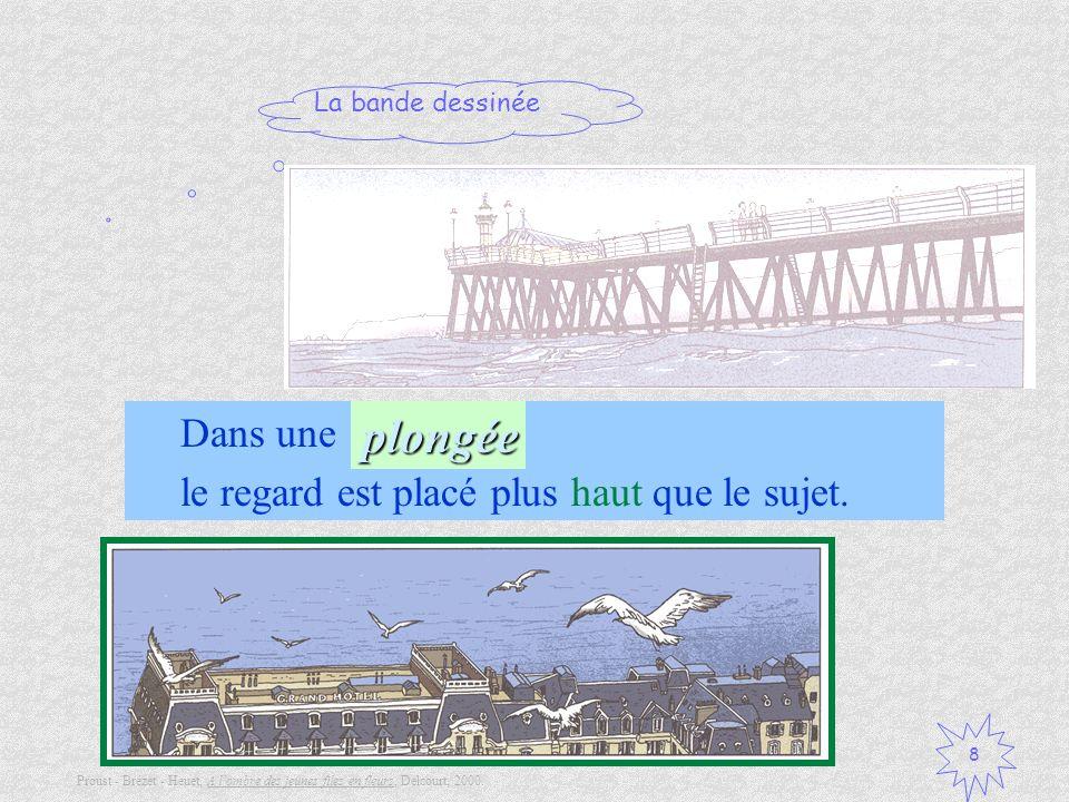 La bande dessinée 8 Dans une …, le regard est placé plus haut que le sujet.plongée Proust - Brézet - Heuet, A lombre des jeunes files en fleurs, Delco