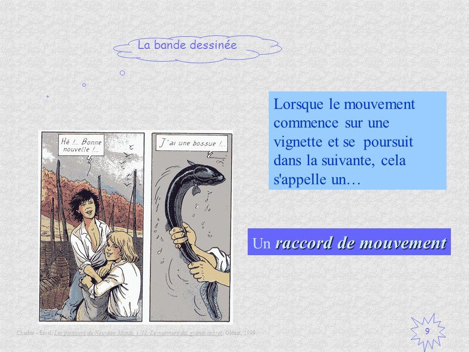 La bande dessinée 9 Lorsque le mouvement commence sur une vignette et se poursuit dans la suivante, cela s'appelle un… raccord de mouvement Un raccord