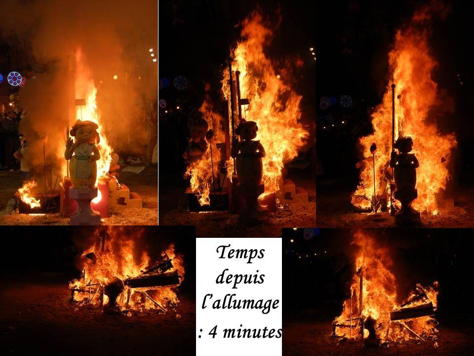 Explosion des pétards et mise à feu de la Falla des ninots devant la mairie. Il est 22 h.