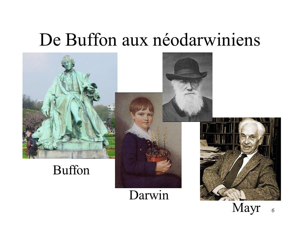 6 De Buffon aux néodarwiniens Buffon Darwin Mayr