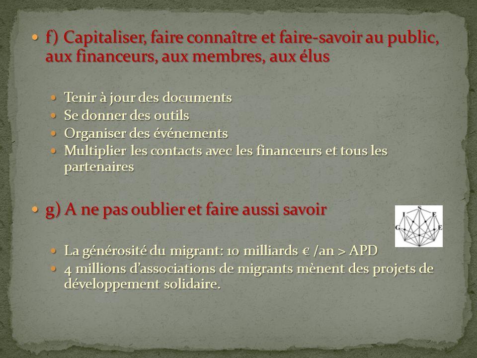f) Capitaliser, faire connaître et faire-savoir au public, aux financeurs, aux membres, aux élus f) Capitaliser, faire connaître et faire-savoir au pu