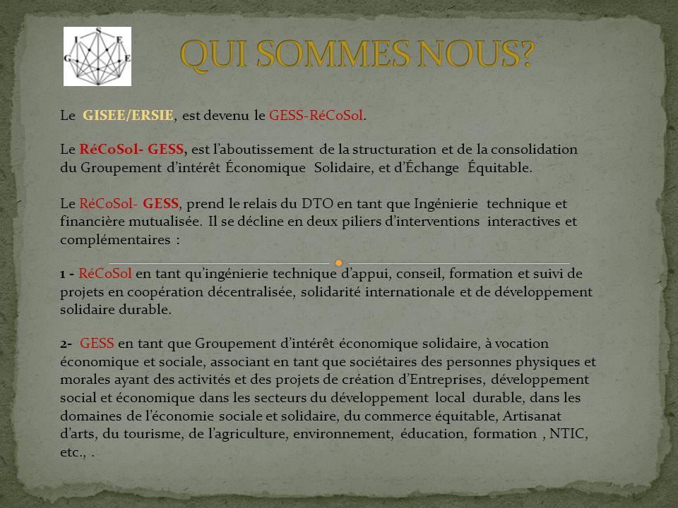 Le GISEE/ERSIE, est devenu le GESS-RéCoSol.