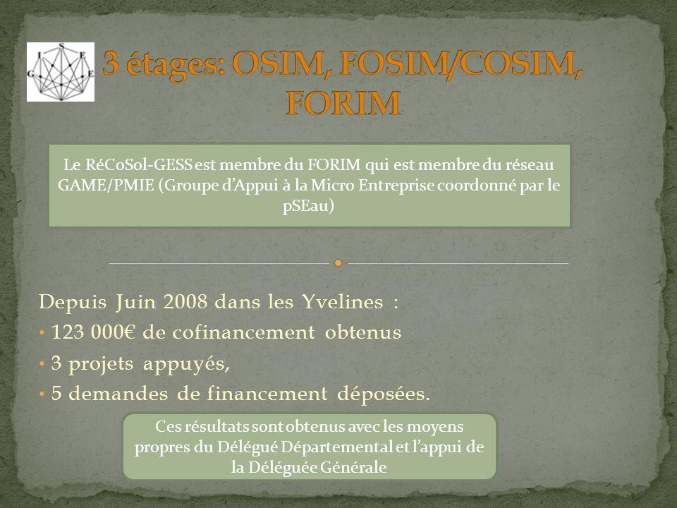 Depuis Juin 2008 dans les Yvelines : 123 000 de cofinancement obtenus 3 projets appuyés, 5 demandes de financement déposées. Le RéCoSol-GESS est membr