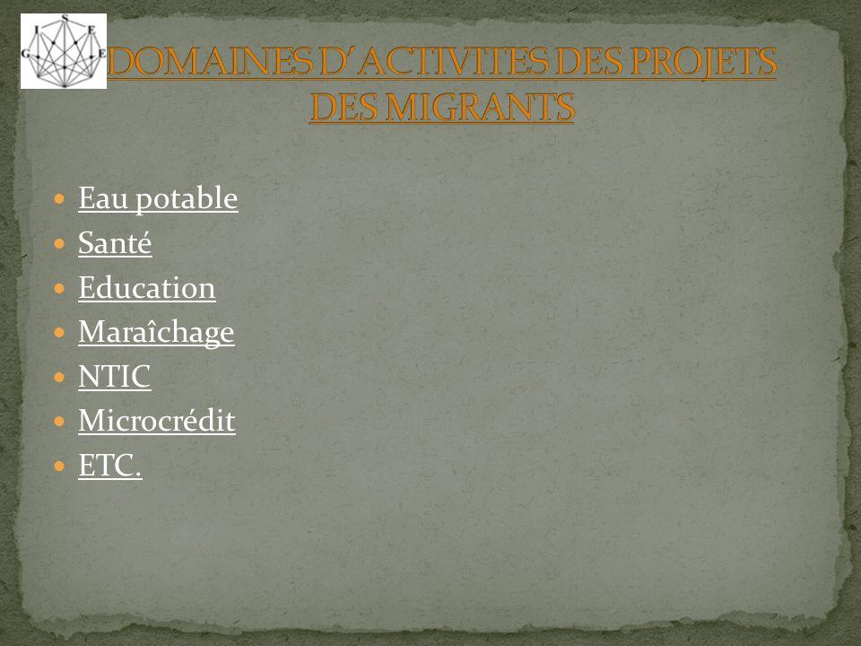 Eau potable Santé Education Maraîchage NTIC Microcrédit ETC.