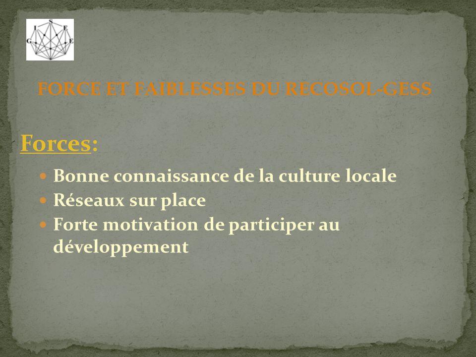 FORCE ET FAIBLESSES DU RECOSOL-GESS Forces: Bonne connaissance de la culture locale Réseaux sur place Forte motivation de participer au développement