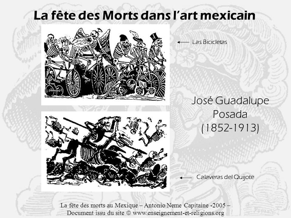 La fête des Morts dans lart mexicain José Guadalupe Posada (1852-1913) Las Bicicletas Calaveras del Quijote La fête des morts au Mexique – Antonio Neme Capitaine -2005 – Document issu du site www.enseignement-et-religions.org
