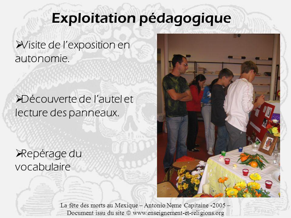 Exploitation pédagogique Visite de lexposition en autonomie.