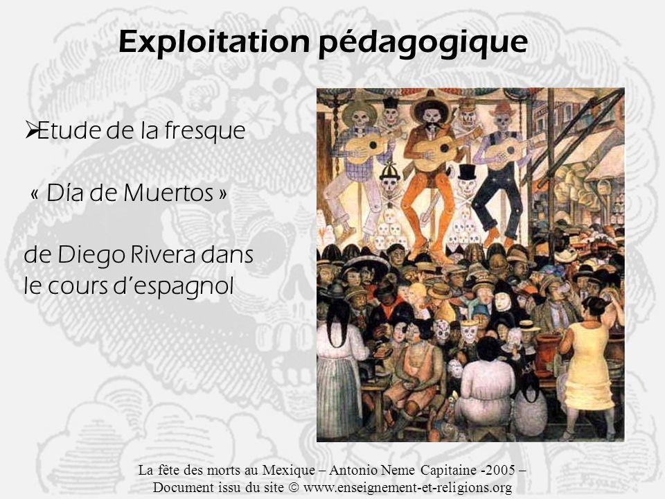 Exploitation pédagogique Etude de la fresque « Día de Muertos » de Diego Rivera dans le cours despagnol La fête des morts au Mexique – Antonio Neme Capitaine -2005 – Document issu du site www.enseignement-et-religions.org