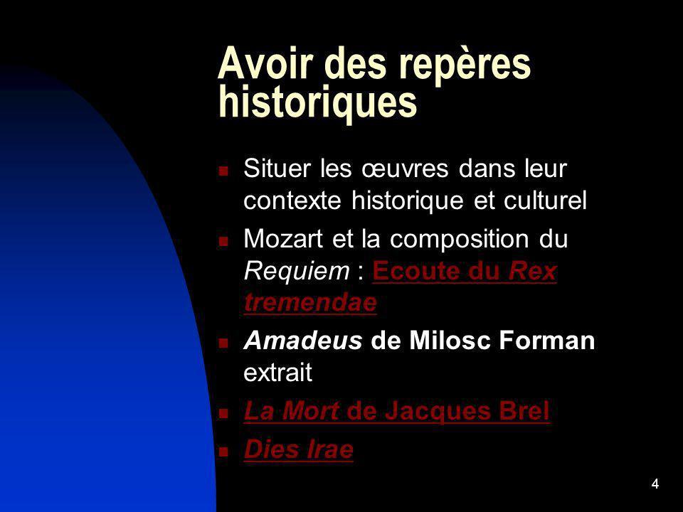 4 Avoir des repères historiques Situer les œuvres dans leur contexte historique et culturel Mozart et la composition du Requiem : Ecoute du Rex tremen