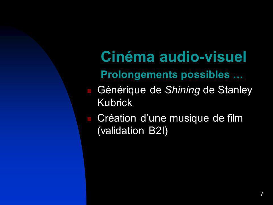 7 Cinéma audio-visuel Prolongements possibles … Générique de Shining de Stanley Kubrick Création dune musique de film (validation B2I)