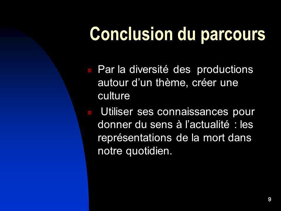 9 Conclusion du parcours Par la diversité des productions autour dun thème, créer une culture Utiliser ses connaissances pour donner du sens à lactual