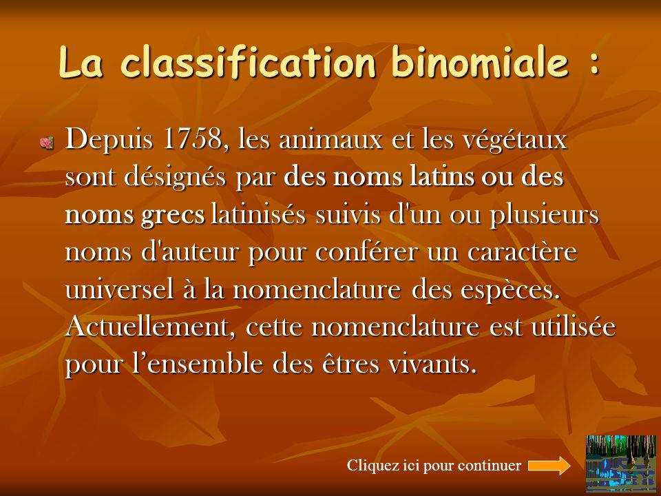 La classification binomiale : Depuis 1758, les animaux et les végétaux sont désignés par des noms latins ou des noms grecs latinisés suivis d un ou plusieurs noms d auteur pour conférer un caractère universel à la nomenclature des espèces.
