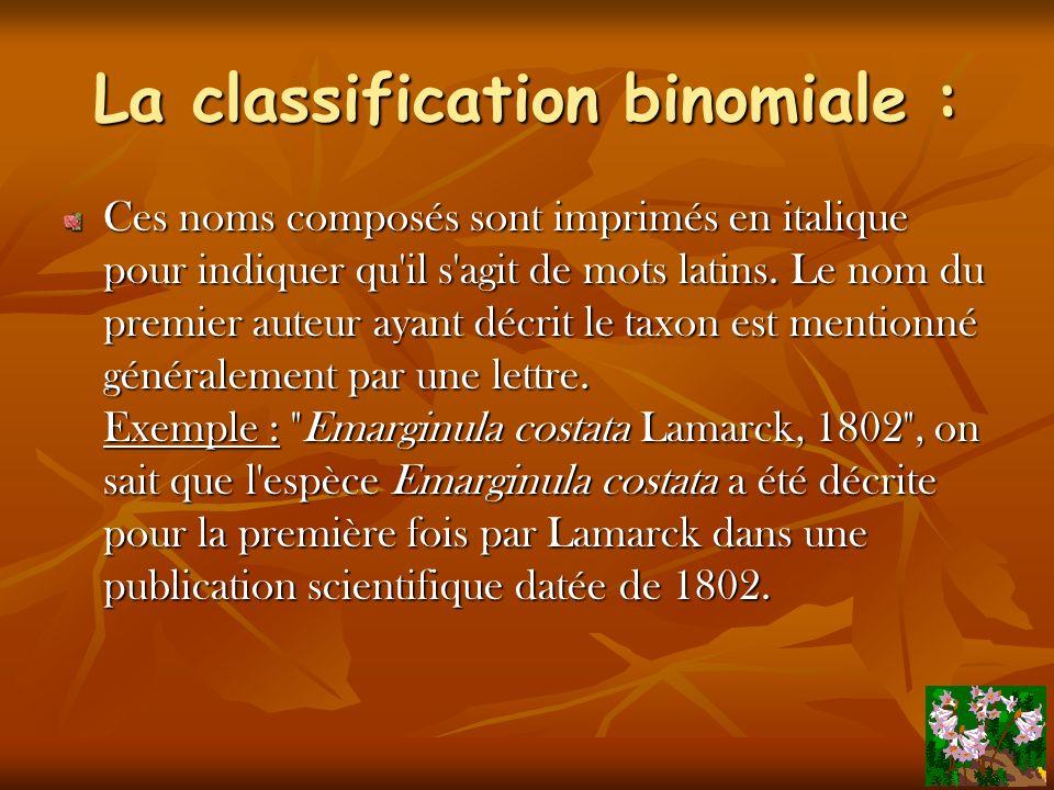 La classification binomiale : On appelle cette nomenclature, la nomenclature binomiale, comportant 2 noms : Le premier est le nom générique = le genre