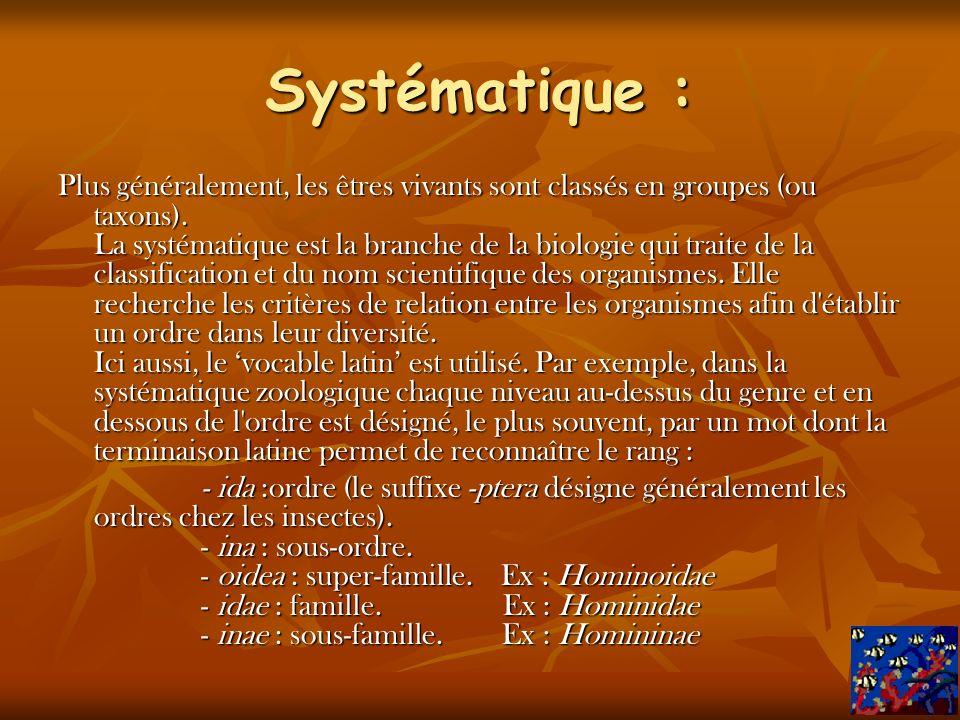 Systématique : Plus généralement, les êtres vivants sont classés en groupes (ou taxons).