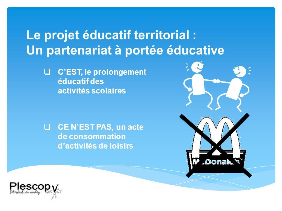 Le projet éducatif territorial : Un partenariat à portée éducative CEST, le prolongement éducatif des activités scolaires CE NEST PAS, un acte de consommation dactivités de loisirs