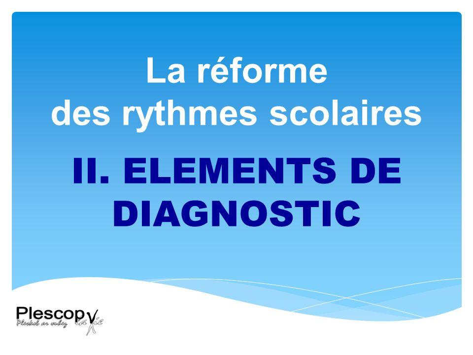 La réforme des rythmes scolaires II. ELEMENTS DE DIAGNOSTIC