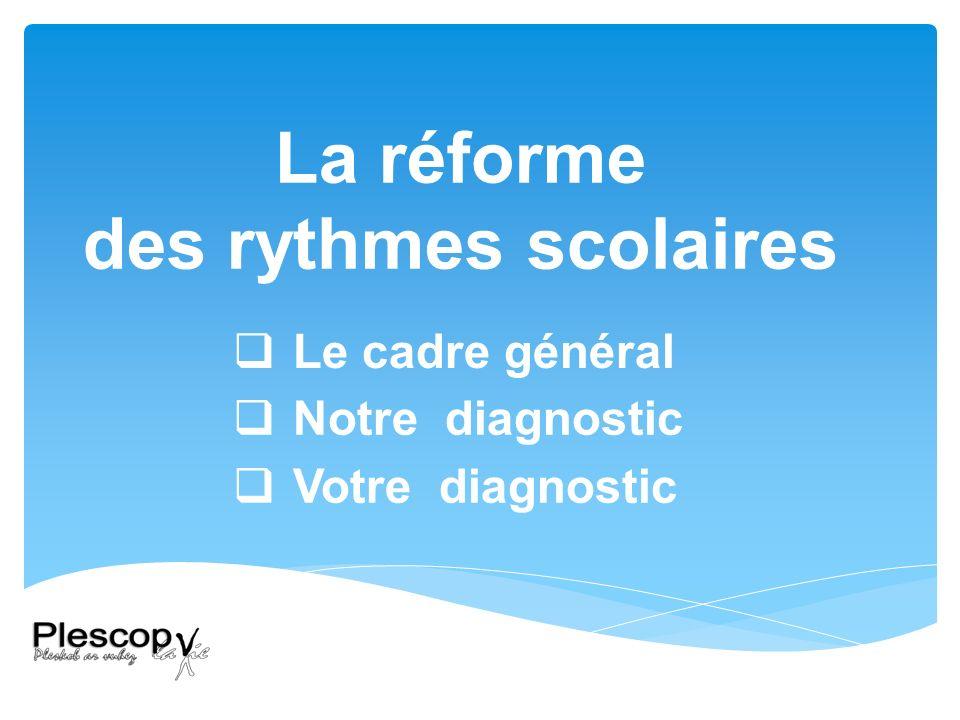 Le cadre général La réforme des rythmes scolaires Notre diagnostic Votre diagnostic