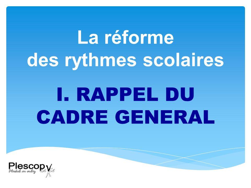 Réforme des rythmes scolaires : un nouveau cadre Décret n°2013-77 du 24 janvier 2013 relatif à laménagement du temps du scolaire dans les écoles maternelles et élémentaires et modifiant le code de léducation