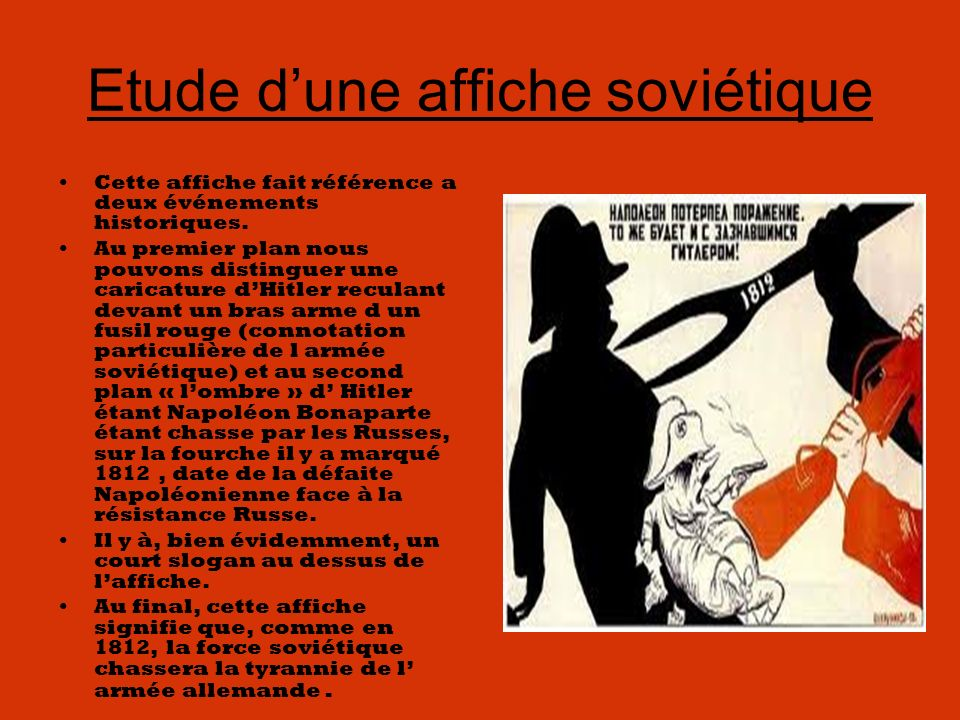 Etude dune affiche soviétique Cette affiche fait référence a deux événements historiques.