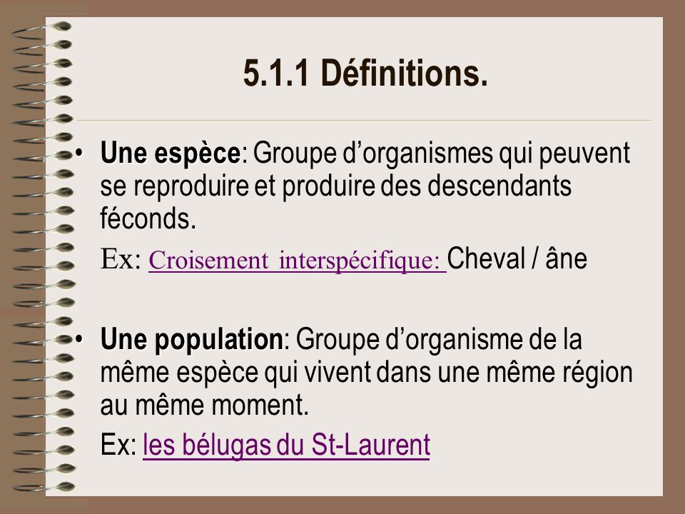 5.1.1 Définitions.Un habitat Un habitat : environnement dans lequel une espèce vit normalement.