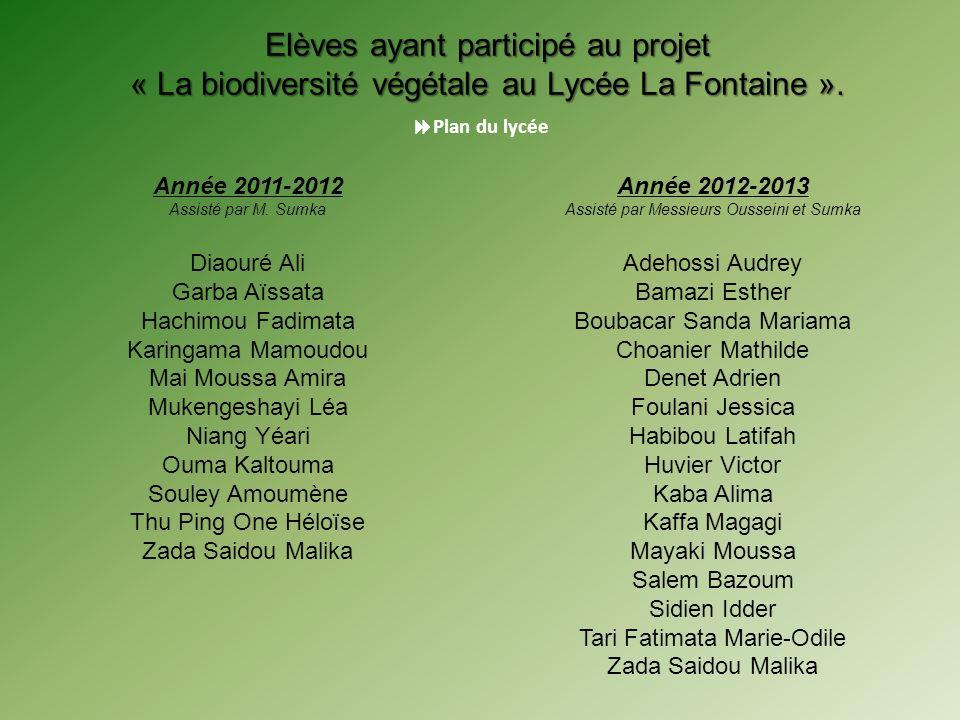 Année 2012-2013 Assisté par Messieurs Ousseini et Sumka Adehossi Audrey Bamazi Esther Boubacar Sanda Mariama Choanier Mathilde Denet Adrien Foulani Je