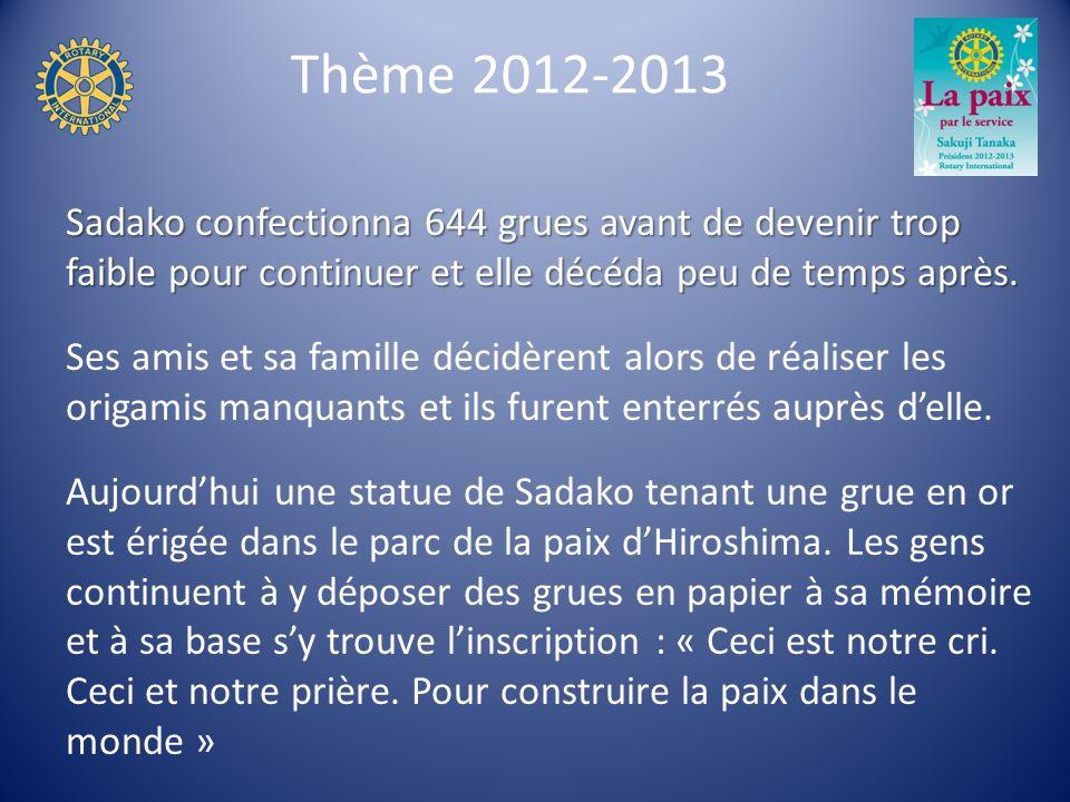 Thème 2012-2013 Sadako confectionna 644 grues avant de devenir trop faible pour continuer et elle décéda peu de temps après.