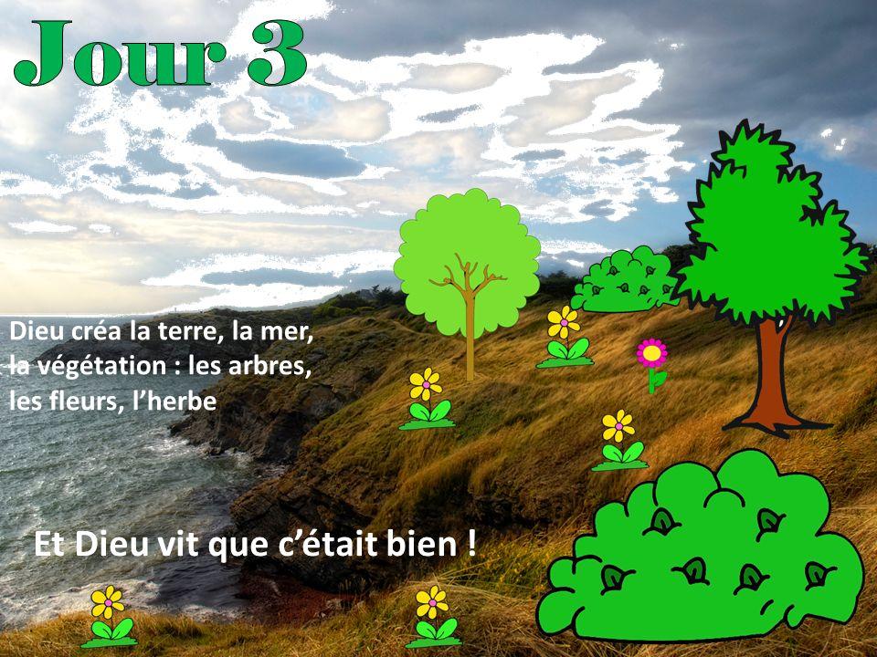 Dieu créa la terre, la mer, la végétation : les arbres, les fleurs, lherbe Et Dieu vit que cétait bien !