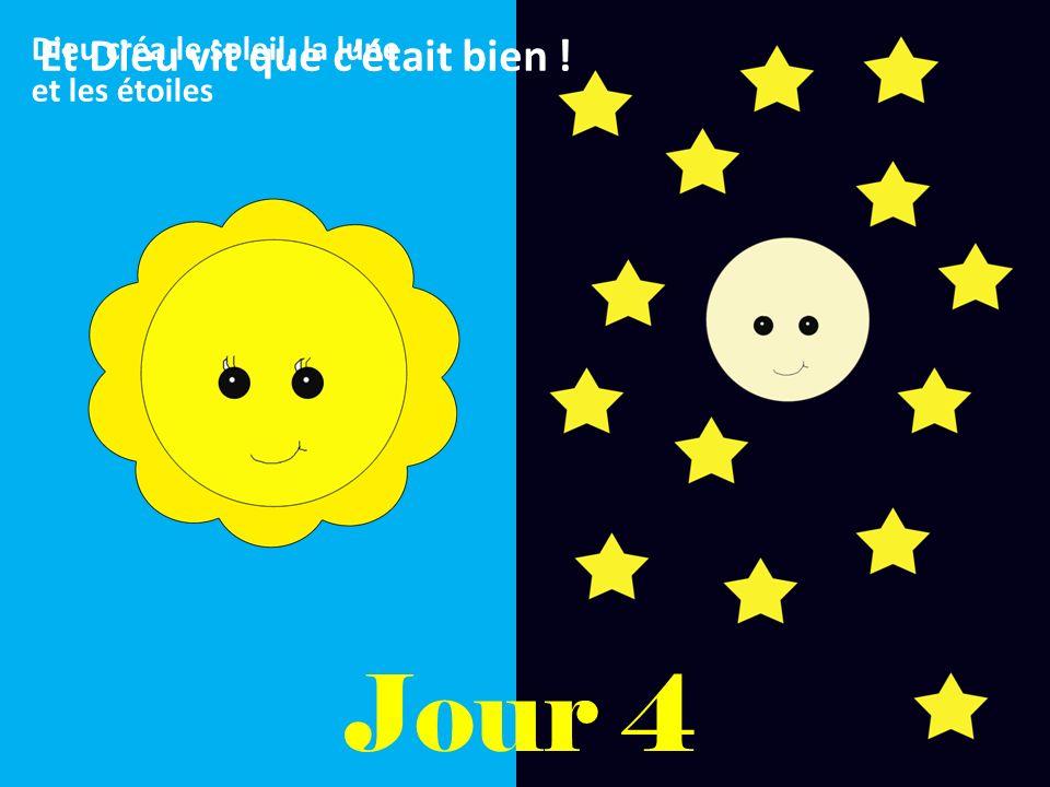 Jour 4 Dieu créa le soleil, la lune et les étoiles Et Dieu vit que cétait bien !