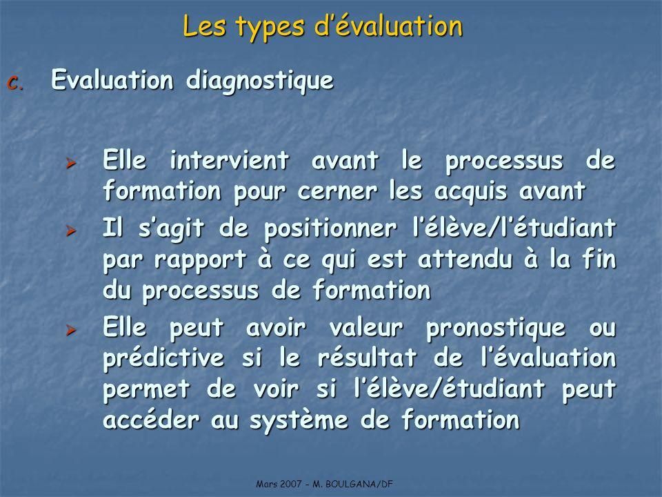 C. Evaluation diagnostique Elle intervient avant le processus de formation pour cerner les acquis avant Elle intervient avant le processus de formatio