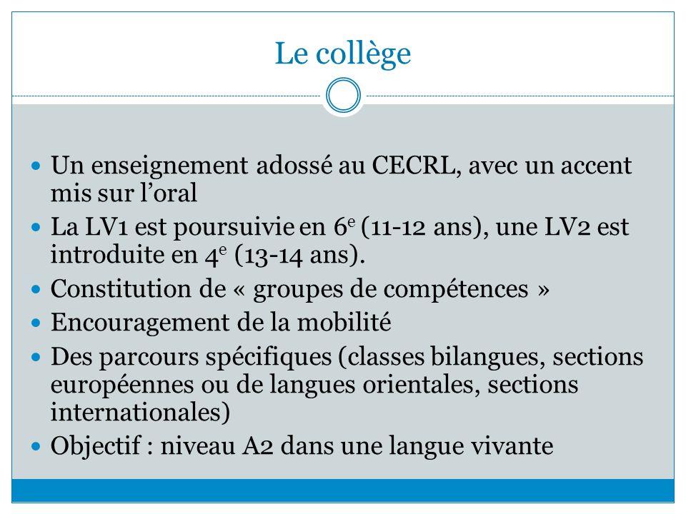 Le collège Un enseignement adossé au CECRL, avec un accent mis sur loral La LV1 est poursuivie en 6 e (11-12 ans), une LV2 est introduite en 4 e (13-1