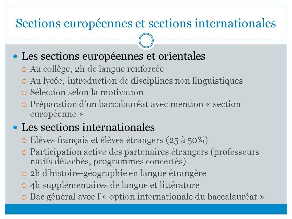 Sections européennes et sections internationales Les sections européennes et orientales Au collège, 2h de langue renforcée Au lycée, introduction de d