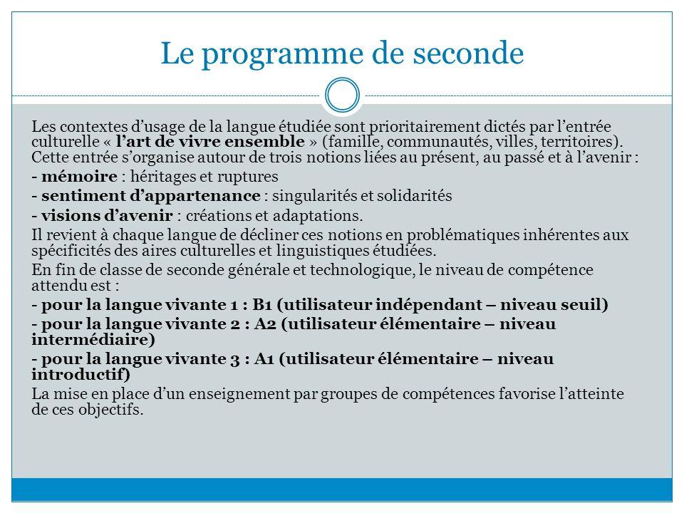 Le programme de seconde Les contextes dusage de la langue étudiée sont prioritairement dictés par lentrée culturelle « lart de vivre ensemble » (famil