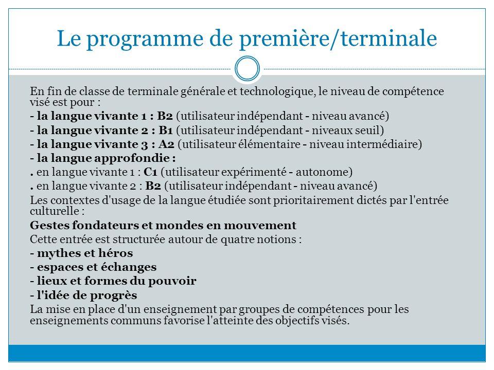 Le programme de première/terminale En fin de classe de terminale générale et technologique, le niveau de compétence visé est pour : - la langue vivant