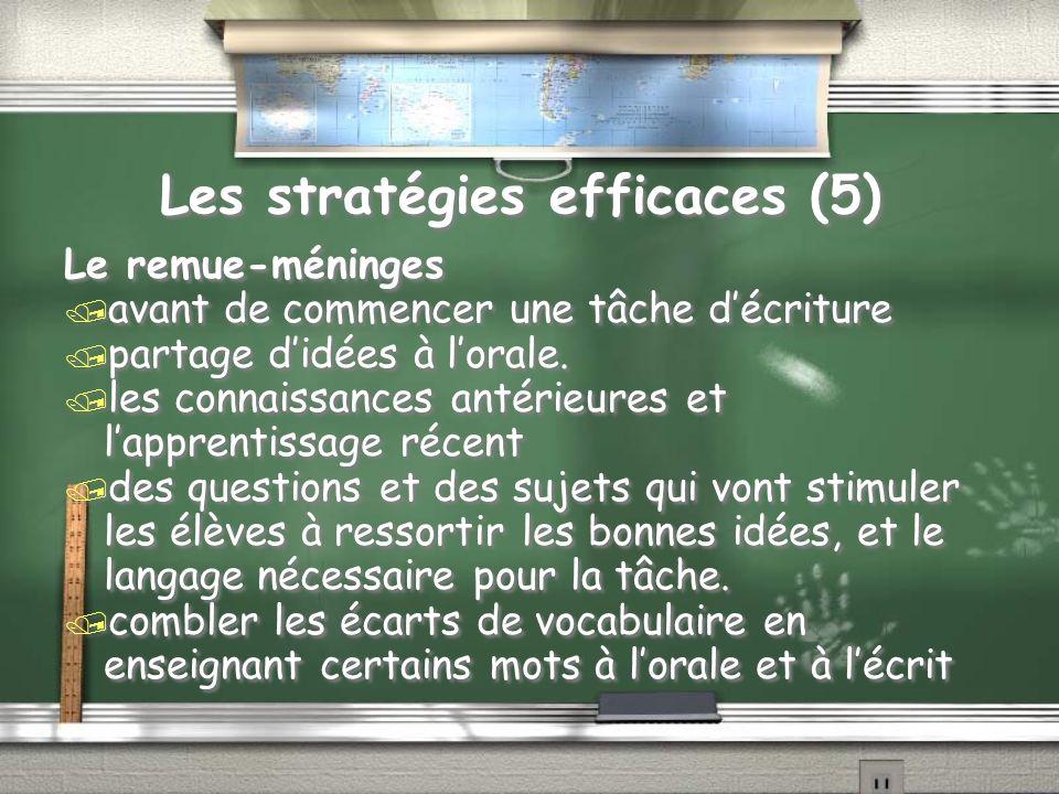 Les stratégies efficaces (5) Le remue-méninges / avant de commencer une tâche décriture / partage didées à lorale.
