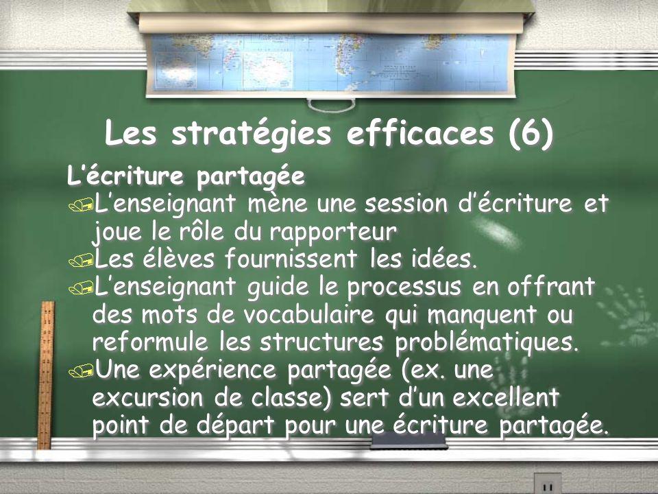 Les stratégies efficaces (6) Lécriture partagée / Lenseignant mène une session décriture et joue le rôle du rapporteur / Les élèves fournissent les idées.