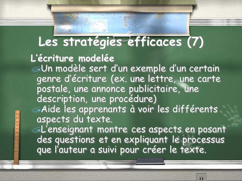 Les stratégies efficaces (7) Lécriture modelée / Un modèle sert dun exemple dun certain genre décriture (ex.