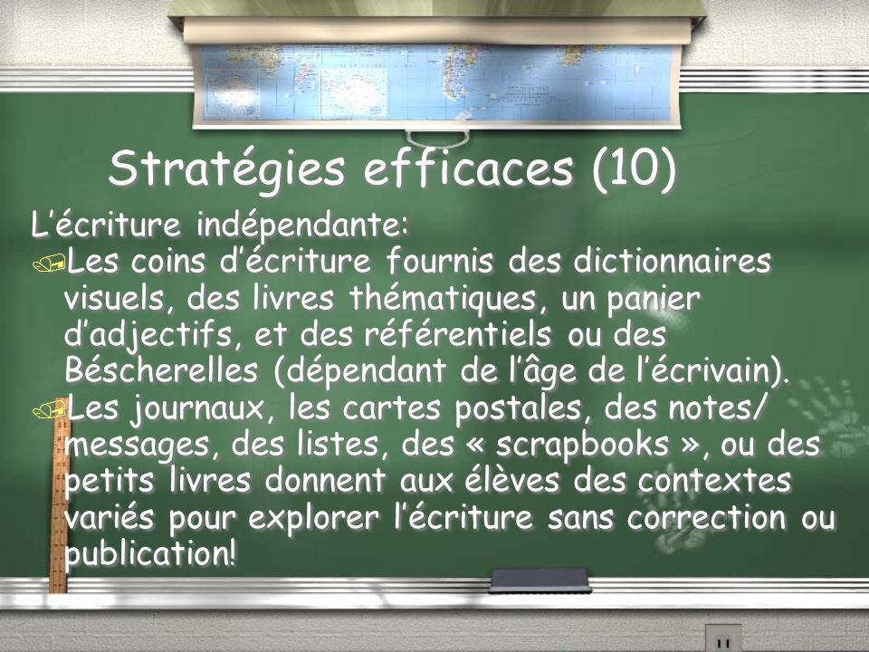 Stratégies efficaces (10) Lécriture indépendante: / Les coins décriture fournis des dictionnaires visuels, des livres thématiques, un panier dadjectifs, et des référentiels ou des Béscherelles (dépendant de lâge de lécrivain).