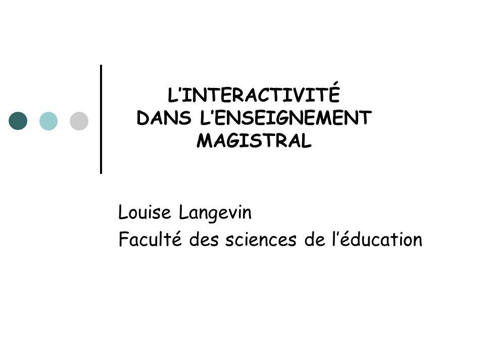 LINTERACTIVITÉ DANS LENSEIGNEMENT MAGISTRAL Louise Langevin Faculté des sciences de léducation