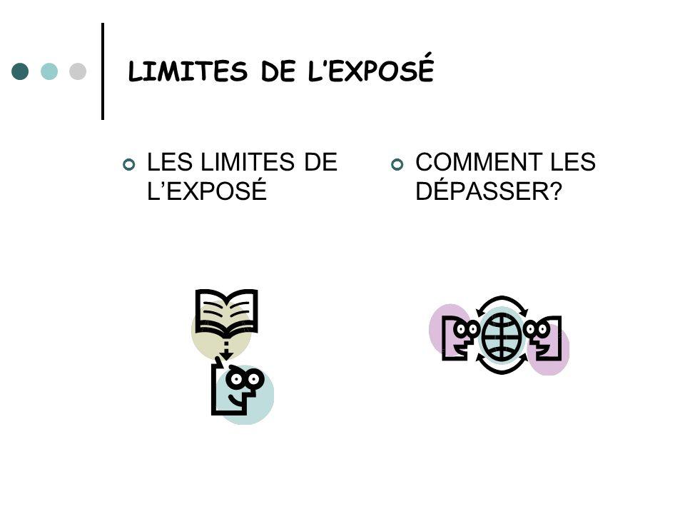 LIMITES DE LEXPOSÉ LES LIMITES DE LEXPOSÉ COMMENT LES DÉPASSER?