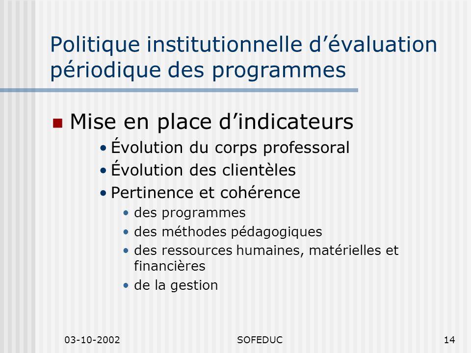 03-10-2002SOFEDUC14 Politique institutionnelle dévaluation périodique des programmes Mise en place dindicateurs Évolution du corps professoral Évoluti