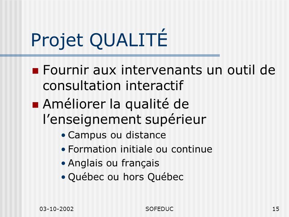 03-10-2002SOFEDUC15 Projet QUALITÉ Fournir aux intervenants un outil de consultation interactif Améliorer la qualité de lenseignement supérieur Campus