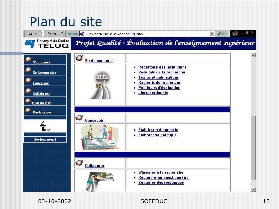 03-10-2002SOFEDUC18 Plan du site