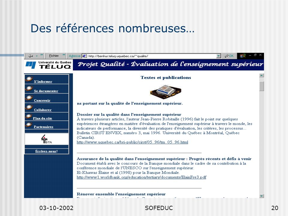 03-10-2002SOFEDUC20 Des références nombreuses…