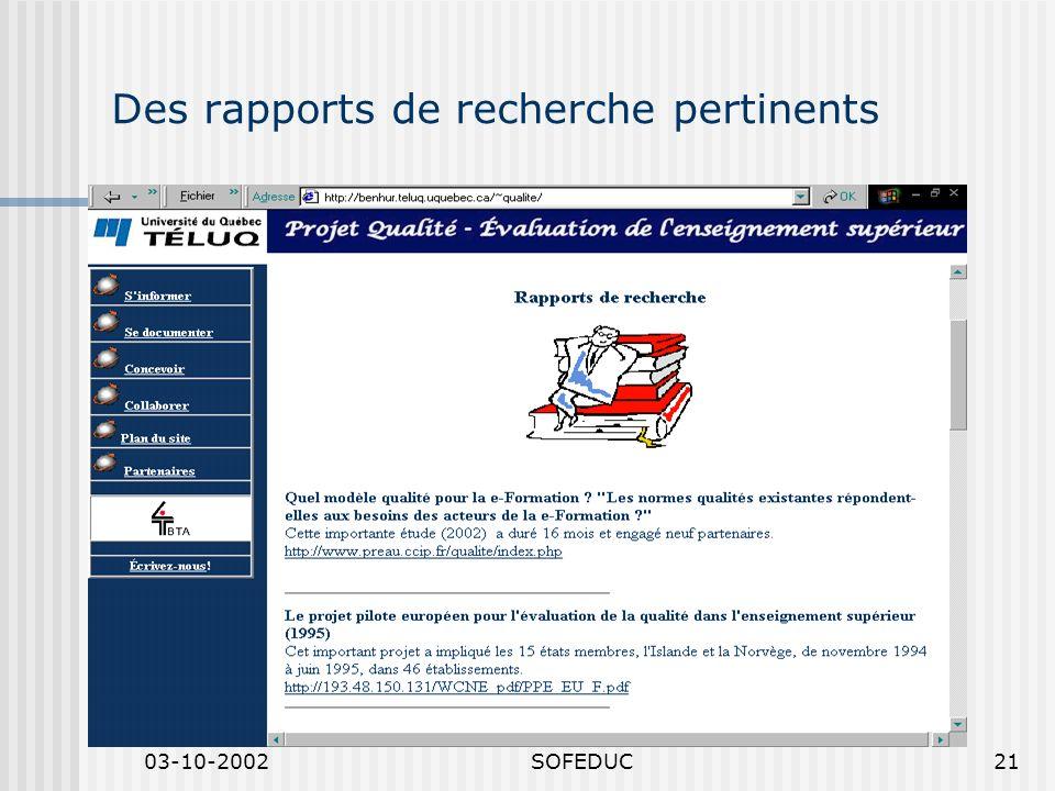 03-10-2002SOFEDUC21 Des rapports de recherche pertinents