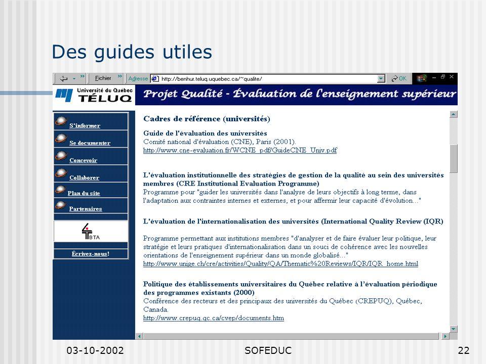03-10-2002SOFEDUC22 Des guides utiles