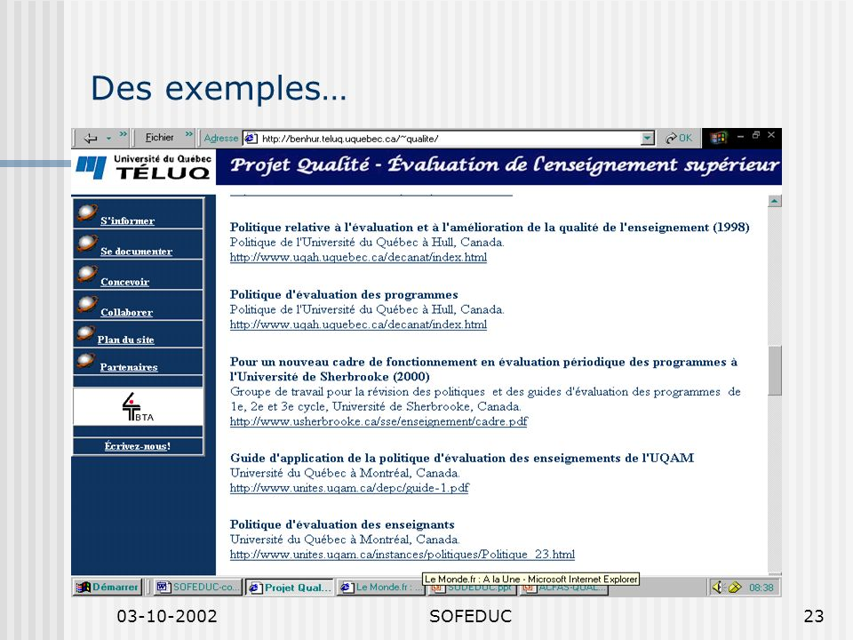 03-10-2002SOFEDUC23 Des exemples…