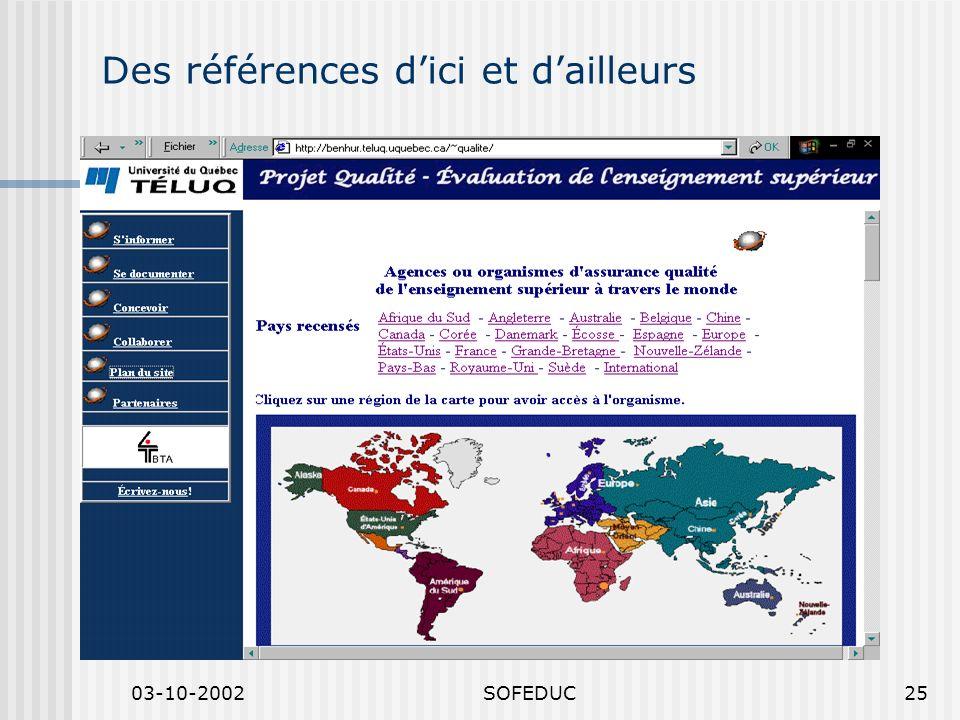 03-10-2002SOFEDUC25 Des références dici et dailleurs