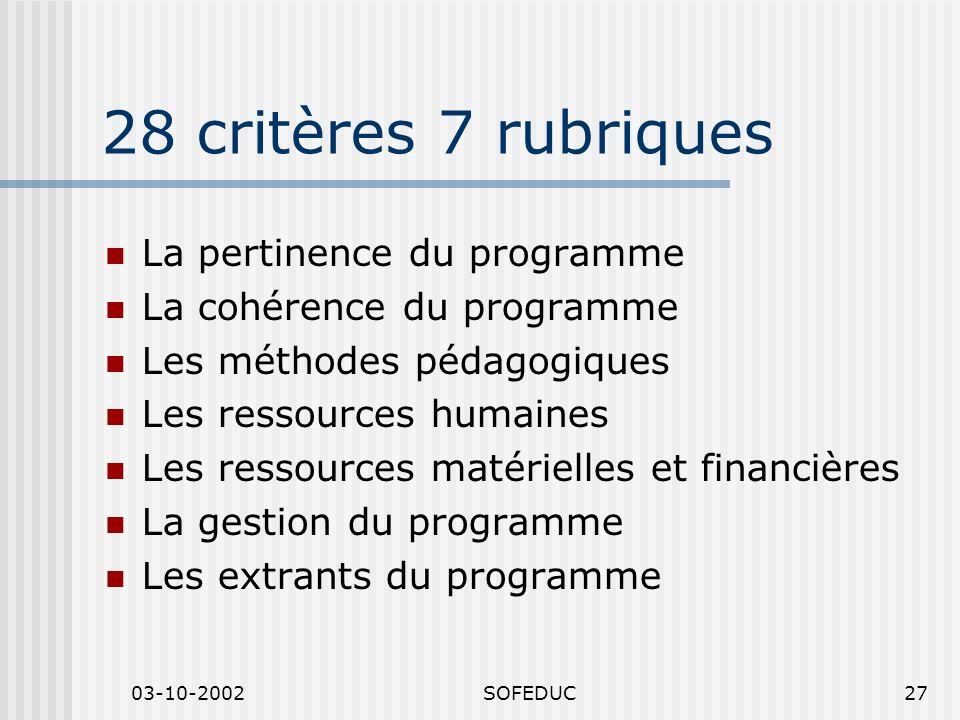 03-10-2002SOFEDUC27 28 critères 7 rubriques La pertinence du programme La cohérence du programme Les méthodes pédagogiques Les ressources humaines Les