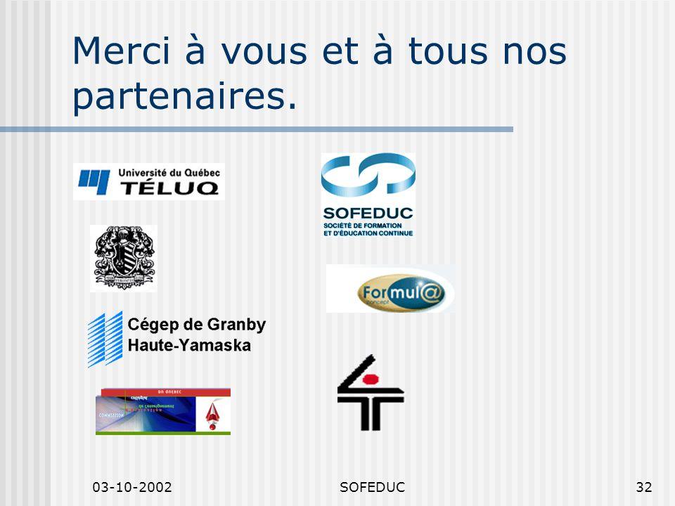 03-10-2002SOFEDUC32 Merci à vous et à tous nos partenaires.