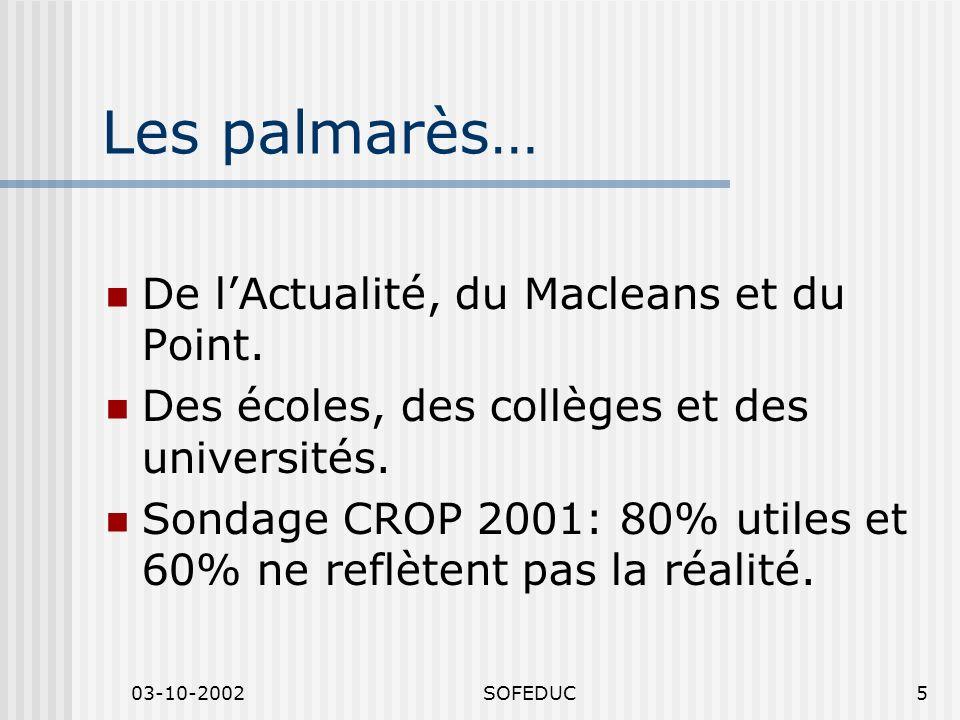 03-10-2002SOFEDUC5 Les palmarès… De lActualité, du Macleans et du Point. Des écoles, des collèges et des universités. Sondage CROP 2001: 80% utiles et